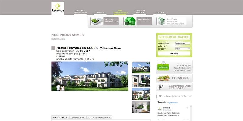 Site vitrine dynamique Revimmob -