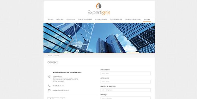 site vitrine de la société Expertignis -