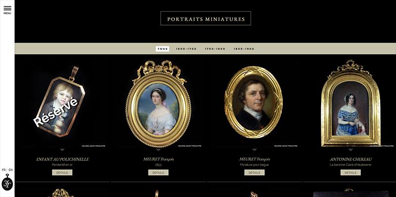 Site vitrine catalogue de la Galerie Jeagy-Theoleyre -