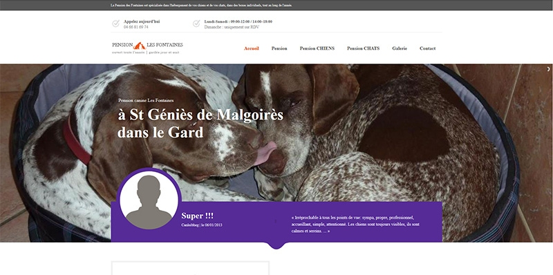 Site Onepage Pension les Fontaines -