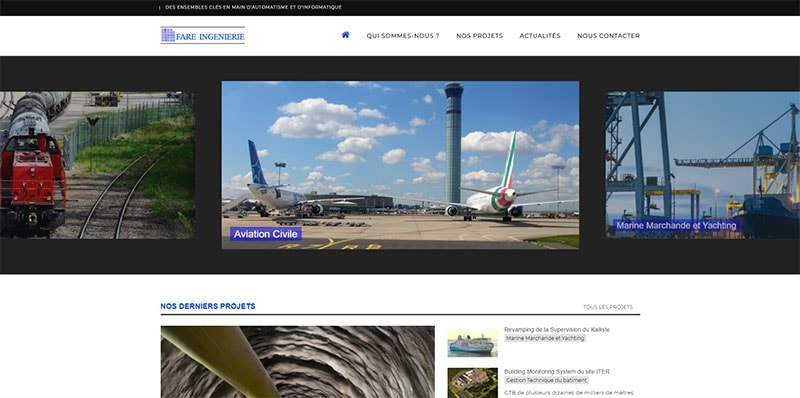 Site vitrine catalogue de Fare Ingenierie -
