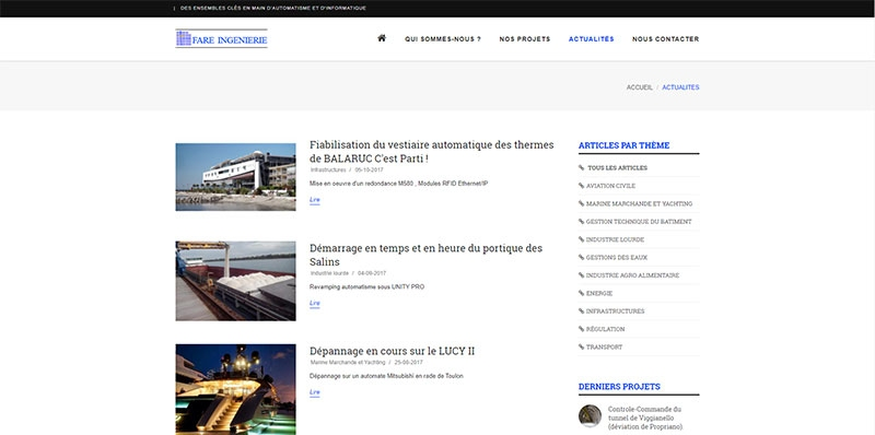 Site vitrine catalogue de Fare Ingenierie -