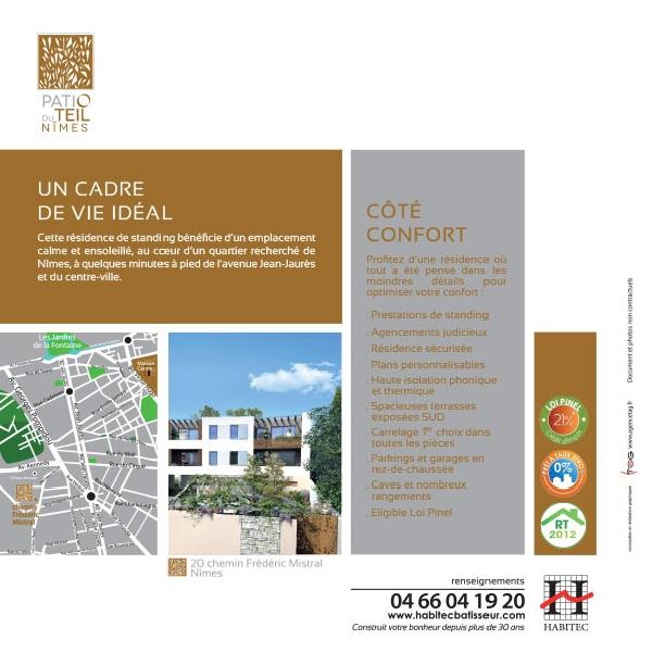 Création du flyer immobilier Patio du Teil -