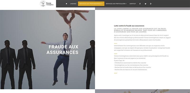 Site vitrine de la société Vienne Investigations -