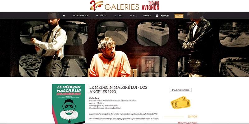 Site vente en ligne du Theatre des 2 Galeries - Avignon -